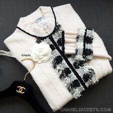 $2,350 CHANEL B/W Fringed Tweed Ivory Boucle Cardigan JACKET * FR 42 /US 8 - 10