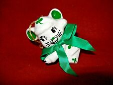 Ceramic Mouse  with Shamrocks  Ornament/Candle Hugger 2 1/4""