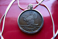 """1942 IRELAND Harp Hen & Chicks One Penny Pendant on a 30"""" 925 Silver Snake Chain"""