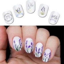 2Pcs Spring Purple Fresh Flower Nail Art Water Decal Lavender Transfer Stickers