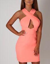 Boutique Celeb Neon Coral Cut Out Mini Dress BNWT 10