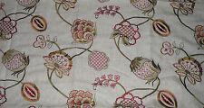 Highland Court Brandy Embroidered Linen Blend Designer Fabric