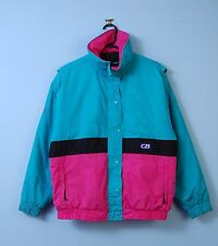 Vintage Ski Jacket In Turquoise & Pink 80s Weather Proof Windbreaker Medium