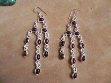 Garnet & Sterling Silver .925 Long Chandelier dangle Earrings Taxco Mexico