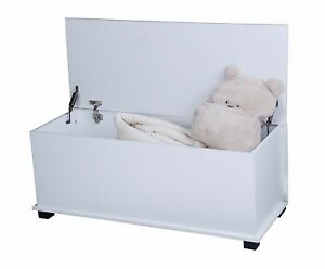 Large Ottoman Wooden Storage Chest/Toy Box/Trunk with Lid and 2 Hinges White