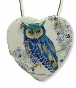 Beautiful blue owl Wall Hanging Slate Heart Home Decor