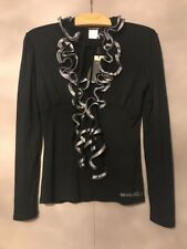 Bnwt Nana Baila French Black Frill Top - Size 8 - 10