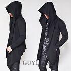Designers Edge Big Hood Mens Double Button Black Coat Jacket Hoodie By Guylook