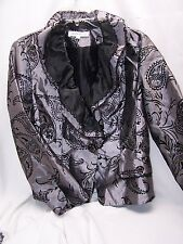 Laura Ashley Black Grey Blazer Jacket Ruffle Embroidered Pockets Petite PL