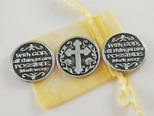 With God All Things Are Possible Pocket Tokens - Set of 3 with Organza Bag