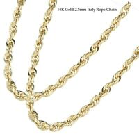 """BRAND NEW 14K Yellow Gold 2.5mm Italy Rope Chain Twist Link Necklace 16"""" - 26"""""""