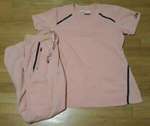 Grey's anatomy women's S small scrub set top bottom shirt pants peach blue trim