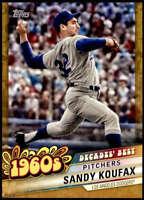 Sandy Koufax 2020 Topps Decade's Best Series 2 5x7 Gold #DB-15 /10 Dodgers