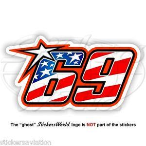 NICKY HAYDEN 69 Stars and Stripes Flag USA MotoGP 75mm Sticker Decal Aufkleber