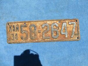Vintage Original 1934 Kansas License Tag 58-2647 Wall Hanger Man Cave Reissue