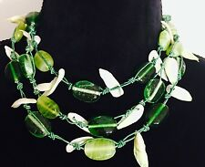 Women Handmade Tribal Ethnic Choker Collar Bib Layered Stone Necklace Green