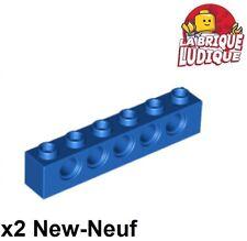 Lego Technic - 2x Brique Brick 1x6 hole bleu/blue 3894 NEUF