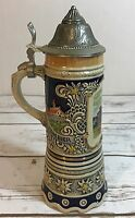 Musical German Beer Stein - MAPSA Swiss Movement Plays EDELWEISS Pewter Lid