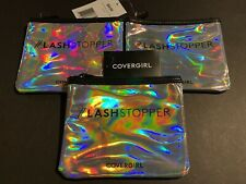 (3) Covergirl LashStopper Silver Holographic & Black Travel Cosmetic Makeup Bag