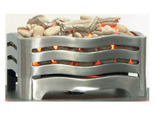 Electric fire Basket Satin with Flicker Pebbles & Driftwood, Logs  Brushed Steel
