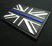 3D PVC THIN BLUE LINE FLAG UNITED KINGDOM COP POLICE BADGE SWAT VELCRO® PATCH