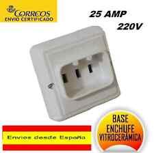 BASE ENCHUFE BIPOLAR TOMA TIERRA ,COCINA,HORNO,VITROCERAMICA ,220V,25 AMP.