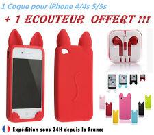 COQUE ETUI HOUSSE SILICONE GEL CHAT IPHONE 4/4S 5/5S / 5C / SE +1 produit OFFERT