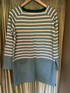 Seasalt Benson Tunic Green Striped Top Size 8 Excellent Condition