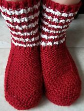 Hand knitted cozy and warm slippers/socks/booties, burgundy red