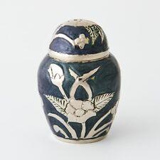 Cremation urn - Blue floral design solid brass keepsake & velvet box was $79.95