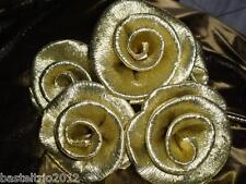 30 x schöne kl. Krepprosen gold Goldhochzeit / Jubiläum/Deko / Hochzeit Blumen