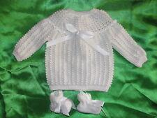 brassiere laine layette bébé naissance tricotée main france blanche chaussons 🌸