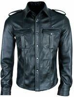 MENS REAL BLACK LEATHER POLICE MILITARY STYLE SHIRT BLUF FULL SLEEVES