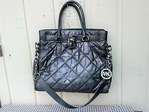 MICHAEL Michael Kors Pocketbook Women's Leather Tote Handbag. Metallic Gray