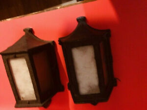2 GREAT  matching  Vintage   porch lights scones lantern lamp fixtures
