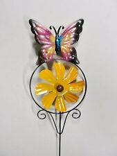 """New listing Home Garden Pool Yard Stake - Pink Butterfly Flower Spinner 23"""" Tall Brand New"""