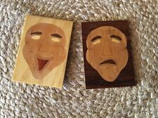 "Set of 2 ACEO ""Marquetry"" Comedy/Tragedy Theatre Masks - Handmade ORIGINALS"