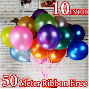 "100 PCS BALLOONS METALLIC LATEX PEARL 10"" Balloon Birthday Party"
