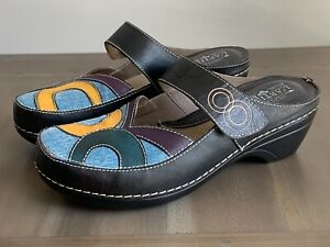 L'Artiste Spring Step Women's Maureen Clog Multi Color Fabric/Leather EU 40 US 9