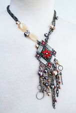Womens Boho Necklace Antique Crystal Matt silver Pearl Chain Boho Hippy Party