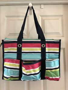 Thirty One Zip Top Organizing Utility Tote in Preppy Pop NIP