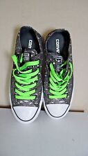 CONVERSE ALL STARS  BLK GRY WH METALLIC W/LIME GREEN LACES SZ US  6.5  4.5 UK