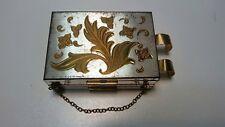 Vintage Saks Fifth Avenue Compact Mirror Makeup Powder Coin purse Bill Clip Lip