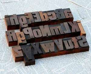 a-z Mix Holzbuchstaben Plakatlettern Buchstaben 54 mm wood type Alphabet vintage