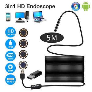 5M USB Endoskop Kamera Hartes Kabel 5,5mm HD LED Inspektion für Handy Android PC