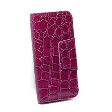 iPhone 4 Card Wallet Flip Crocodile Case - Purple