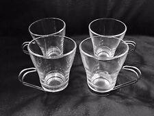 Set of 4 Vitrosax Glass Cappuccino Cup Metal Handle Made in Italy - 8 oz