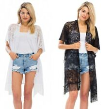 Women's Boho Cover Up Kimono Cardigan Lace Crochet Loose Duster Top Beach Robe
