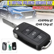 For VW 2010- Folding Flip 3Button Remote Key Fob 434MHz w/ID48 Chip