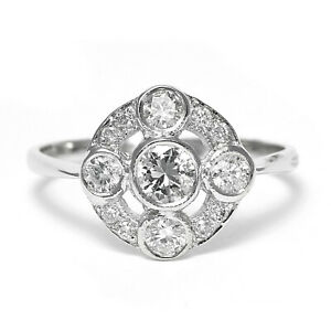 Art Deco Diamond Cluster Ring 0.85ct Platinum